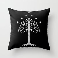 gondor Throw Pillows featuring White Tree of Gondor by A. Design
