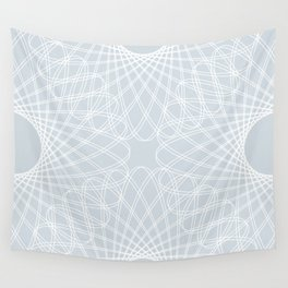 spirograph inspired pattern in white and a pale icy gray Wall Tapestry