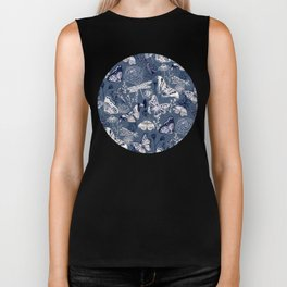 Dragonflies, Butterflies and Moths With Plants on Navy Biker Tank