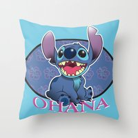 ohana Throw Pillows featuring Ohana by Une Belle Pagaille