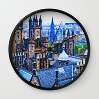 edinburgh Wall Clocks featuring Edinburgh Rooftops  by Valerie Paterson