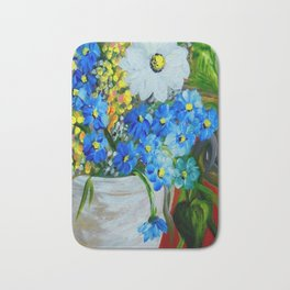 Flowers in a White Vase Bath Mat