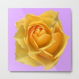 YELLOW GARDEN ROSE ON LILAC Metal Print