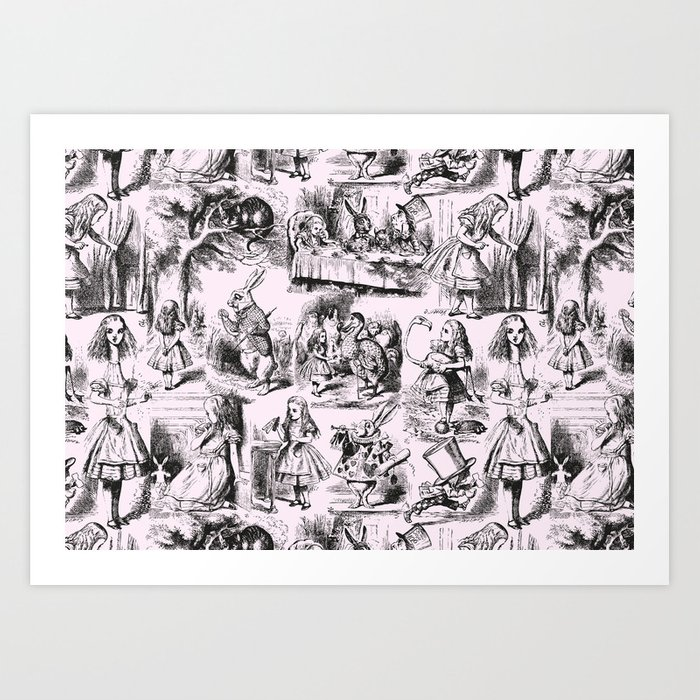 Alice in Wonderland | Toile de Jouy Pattern | Black | Pink | Vintage Pattern | Victorian Gothic | Kunstdrucke