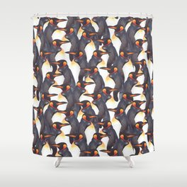 King Penguins Watercolour repeat Pattern Shower Curtain