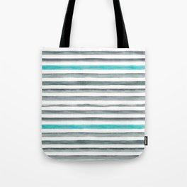 Watercolor Gray & Teal Stripe Pattern Tote Bag
