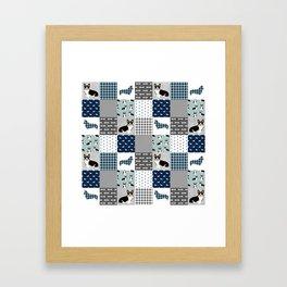 Tricolored Corgi Patchwork - classic buffalo plaid, plaid, dog dad, dog lover, dog design, cute dogs Framed Art Print