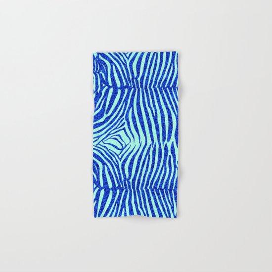 Blue Glitter Zebra Print Hand & Bath Towel