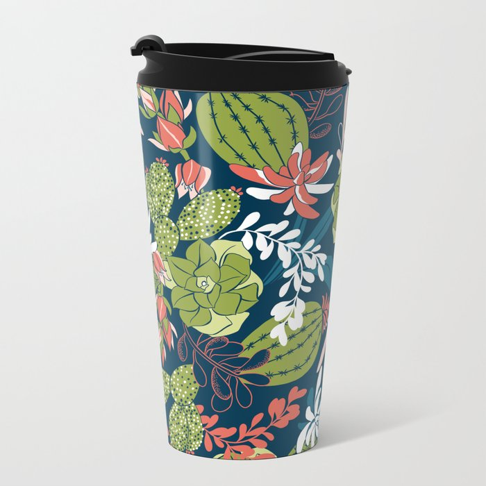 Succulent Garden Navy Metal Travel Mug