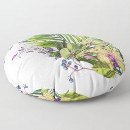 Bouquet, Orchid, Bud, Leaf Clipart, watercolor, handpainted, floral, flower, design, style, troical Floor Pillow
