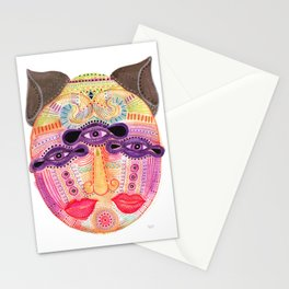 watch my lips mask Stationery Cards