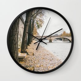 River Seine Autumn Leaves | Paris Travel Fine Art Wall Clock