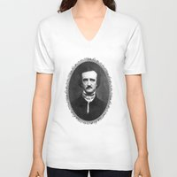 edgar allen poe V-neck T-shirts featuring Poe by fyyff