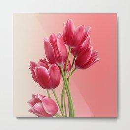 Beautiful Pink Tulips & Soft Background Metal Print