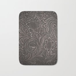 Distressed Smoky Tooled Leather Bath Mat