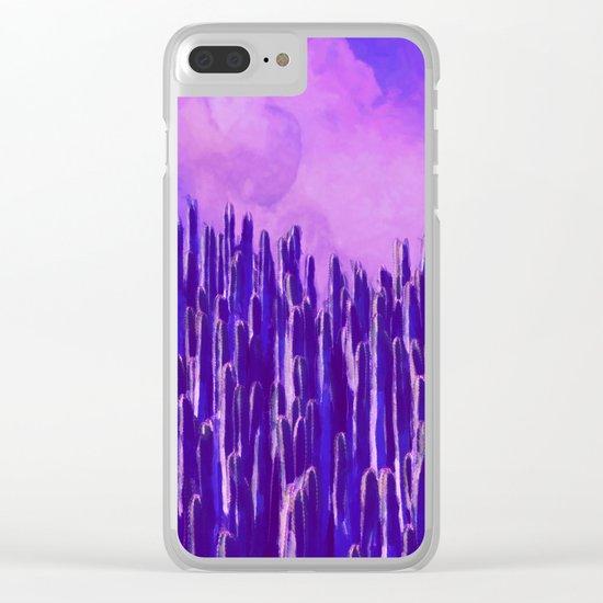 Cacti landscape Clear iPhone Case
