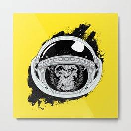 Space Monkey Yellow Metal Print