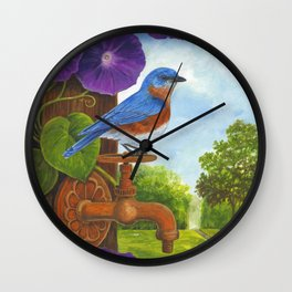 Bluebird and Rusty Faucet Wall Clock