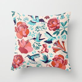 Hummingbird summerdance Throw Pillow