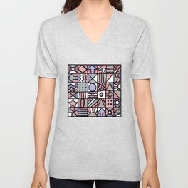 Abstract Lines and Shapes #2 Unisex V-Neck