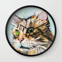 Watercolor Cat 08 Green Eyes Cat Wall Clock