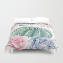 Cactus Rose Succulents Garden Duvet Cover