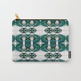 Elegant Polynesian Deep Green Tribal Print Carry-All Pouch