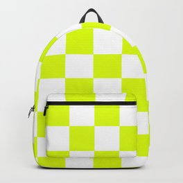 Chartreuse Checkers Pattern Backpack