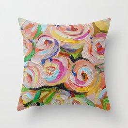 Festal - Pink Roses Throw Pillow