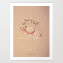 Christmas creatures- Kitties in love Art Print