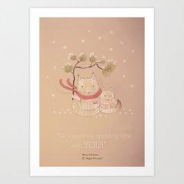 Christmas creatures- Kitties in love Art Print