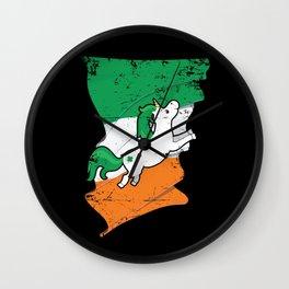 Distressed Irish Flag Unicorn St Patricks Wall Clock