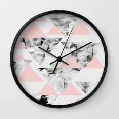 Pink Triangles Wall Clock