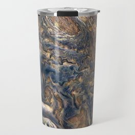 Swirling Clouds of Planet Jupiter Close Up from Juno Cam Travel Mug