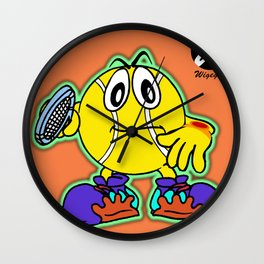 Comic character with Tennis Racket Wall Clock