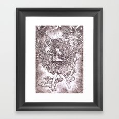 Girl and her cat Framed Art Print