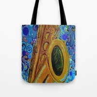 saxophone Tote Bags featuring Saxophone  by gretzky