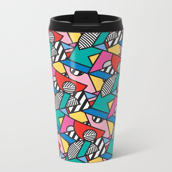 Colorful Memphis Modern Geometric Shapes Metal Travel Mug