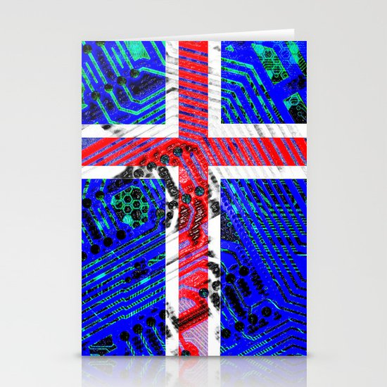 circuit board Flag (iceland) Stationery Cards
