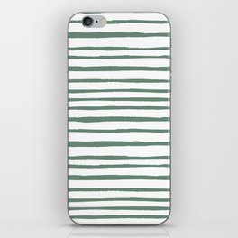 Geometrical hand painted pastel green watercolor stripes iPhone Skin