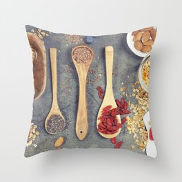 Breakfast set with granola, almond milk, superfoods and berries Throw Pillow