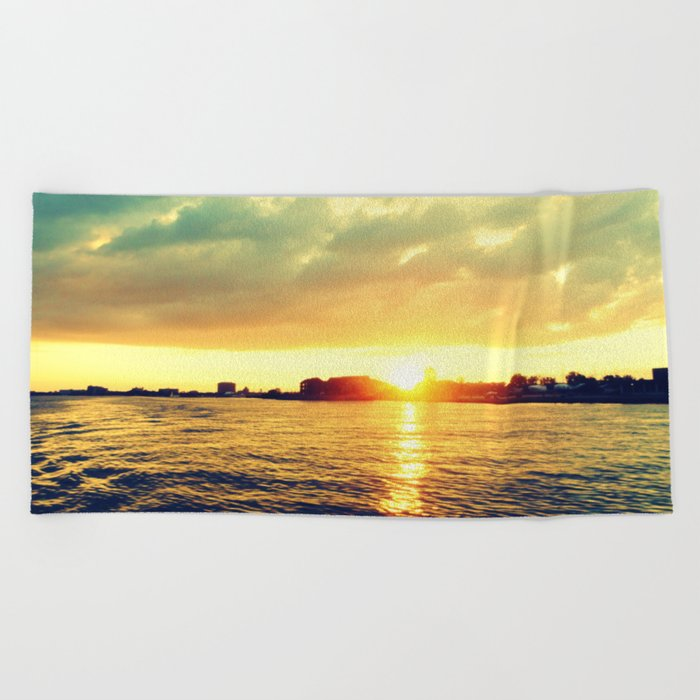 Sunset watEr :Houses Off the River Beach Towel