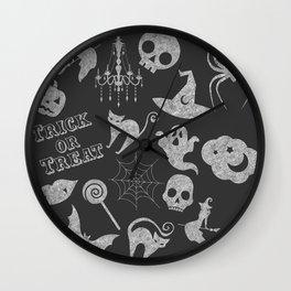 Dark Grey Chalkboard Wall Clock