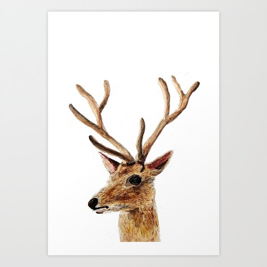 deer watercolor painting Art Print