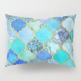 Cobalt Blue, Aqua & Gold Decorative Moroccan Tile Pattern Pillow Sham