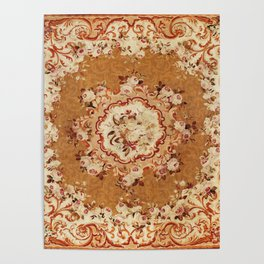 Aubusson 19th Century French Floral Rug Print Poster