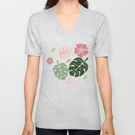 Tropical leaves Blue paradise #homedecor #apparel #tropical Unisex V-Neck