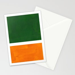 Forest Green Yellow Ochre Mid Century Modern Abstract Minimalist Rothko Color Field Squares Stationery Cards