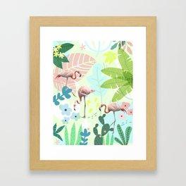 Flamingo jungle Framed Art Print
