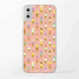 Ice Cream Cone Pattern Pink Robayre Clear iPhone Case